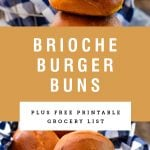 Two pictures showing cooked brioche hamburger buns. Recipe title above it is on a gold background.