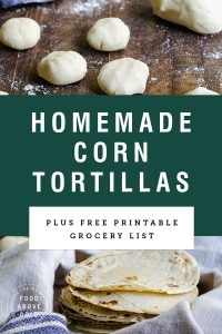 "Title Text ""homemade corn tortillas"" over pictures of tortillas and tortilla dough"