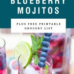 A glass of blueberry mojito garnished with lime and blueberries. Recipe title above it is on a blue background.