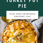 A skillet turkey pot pie with the center cut out. Recipe title above it is on a green background.