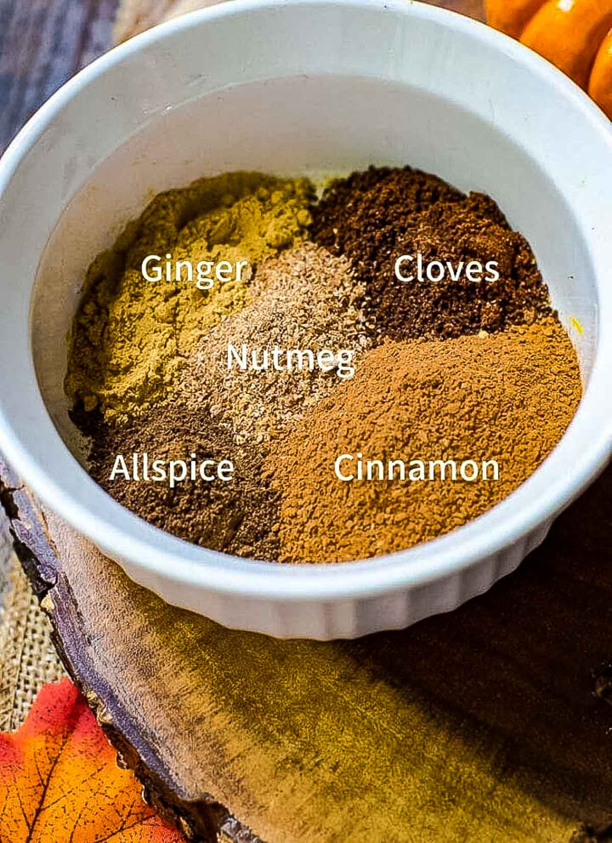 Ground spices next to each other in a bowl. Each spice is labeled.