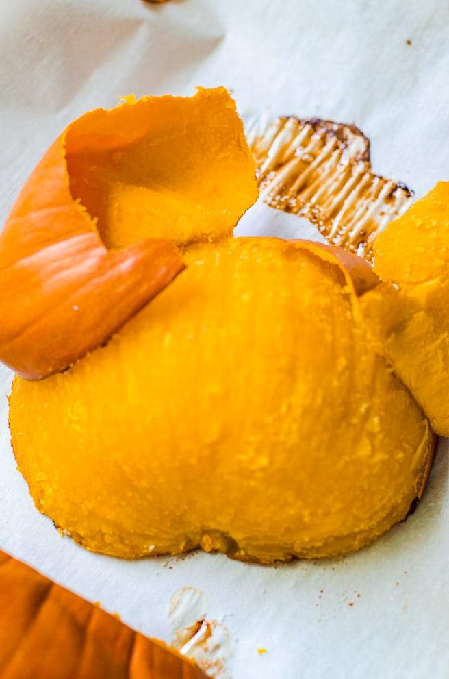 A peeled roasted pumpkin.
