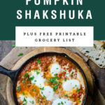 A cast iron pan of pumpkin shakshuka. Recipe title above it is on a green background.