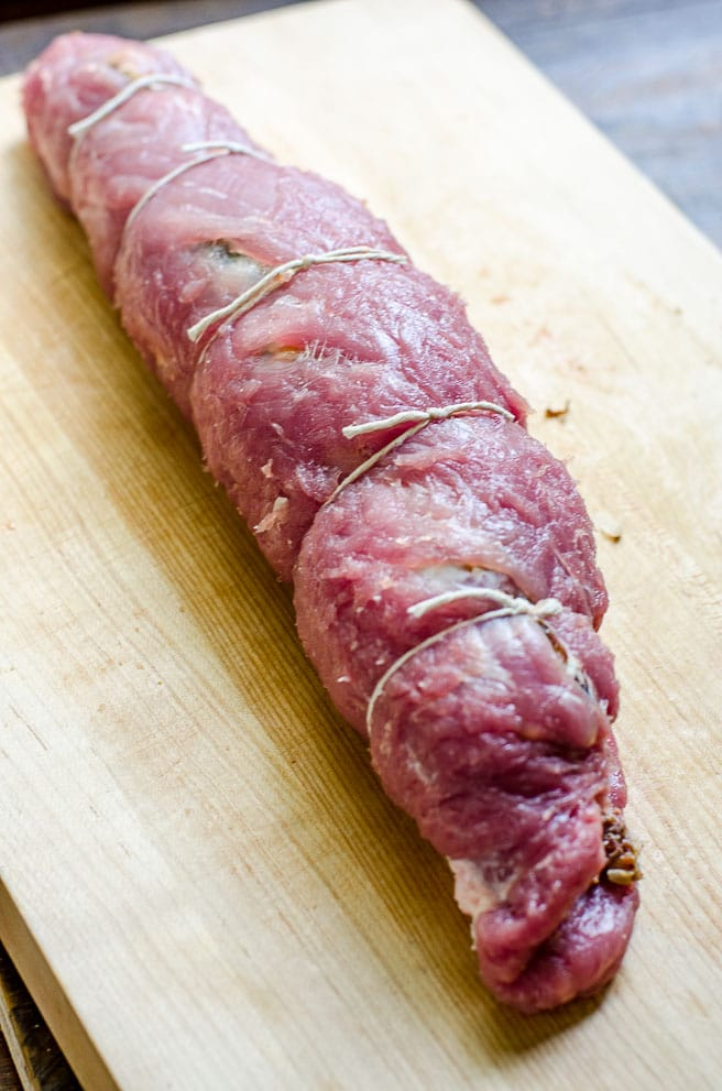 How to tie together a stuffed pork tenderloin.