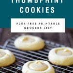 Brown butter thumbprint cookies with recipe name above it on a blue background.
