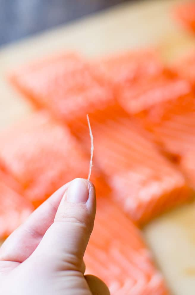 Close up of a salmon pin bone in front of many salmon fillets.