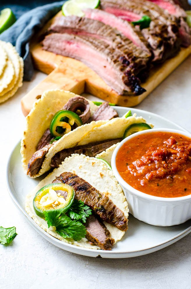 A plate of carne asada tacos.