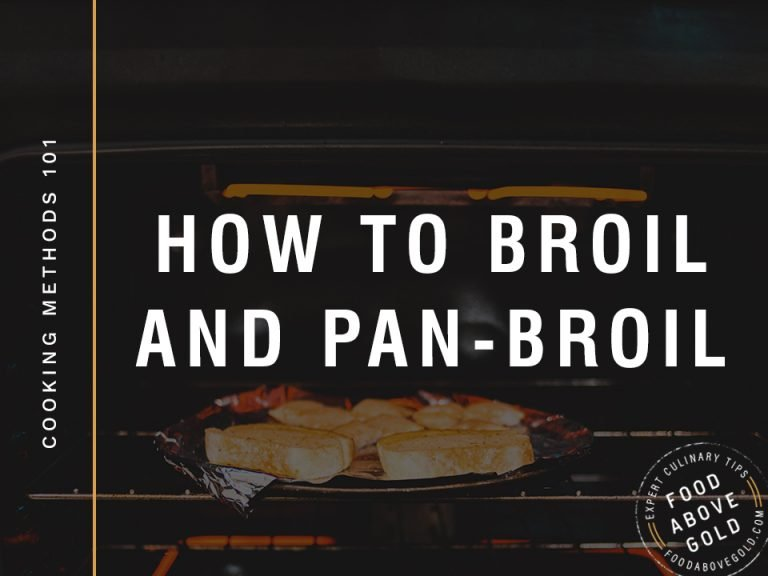Bread on an aluminum foil lined baking sheet showing how to broil in an oven.
