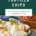 Title for homemade tortilla chips over a picture of them.