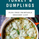 a pot of turkey and dumplings with title text above it.