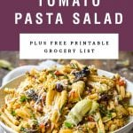 A bowl of sun dried tomato pasta salad with California Prunes. Title text above it.