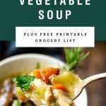 A spoon lifting up a bit of turkey vegetable soup. Recipe title above it is on a green background.