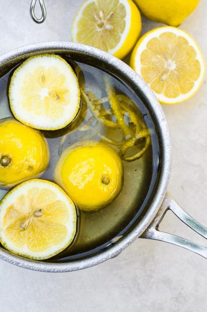 Lemons and zest in a pot.