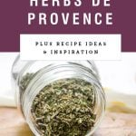 spice jar of herbs de provence spilling out with purple header with recipe name.