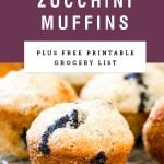 "Blueberry muffins with text above saying ""Blueberry zucchini muffins""."