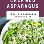 """A bowl of asparagus with sprinkled cheese on top. Purple background with text saying """"cheesy creamed asparagus""""."""