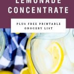 "A pitcher of lemonade with title text saying ""Frozen Lemonade Concentrate"""