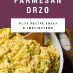 Bowl of garlic parmesan orzo with purple header with recipe name.