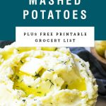 """mashed potatoes in a bowl with title saying """"goat cheese mashed potatoes."""""""