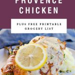 """herbs de Provence chicken with a lemon wheel on it with a purple block above it saying """"herbs de provence chicken"""""""