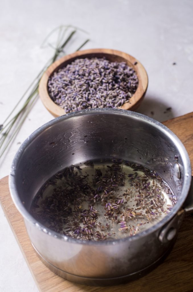 A pot of water with lavender steeping in it.