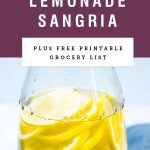 "A pitcher of sliced lemons in juice with title text saying ""simple lemonade sangria""."