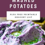 "Purple background with text saying ""purple mashed potatoes"" over a picture of purple mashed potatoes."