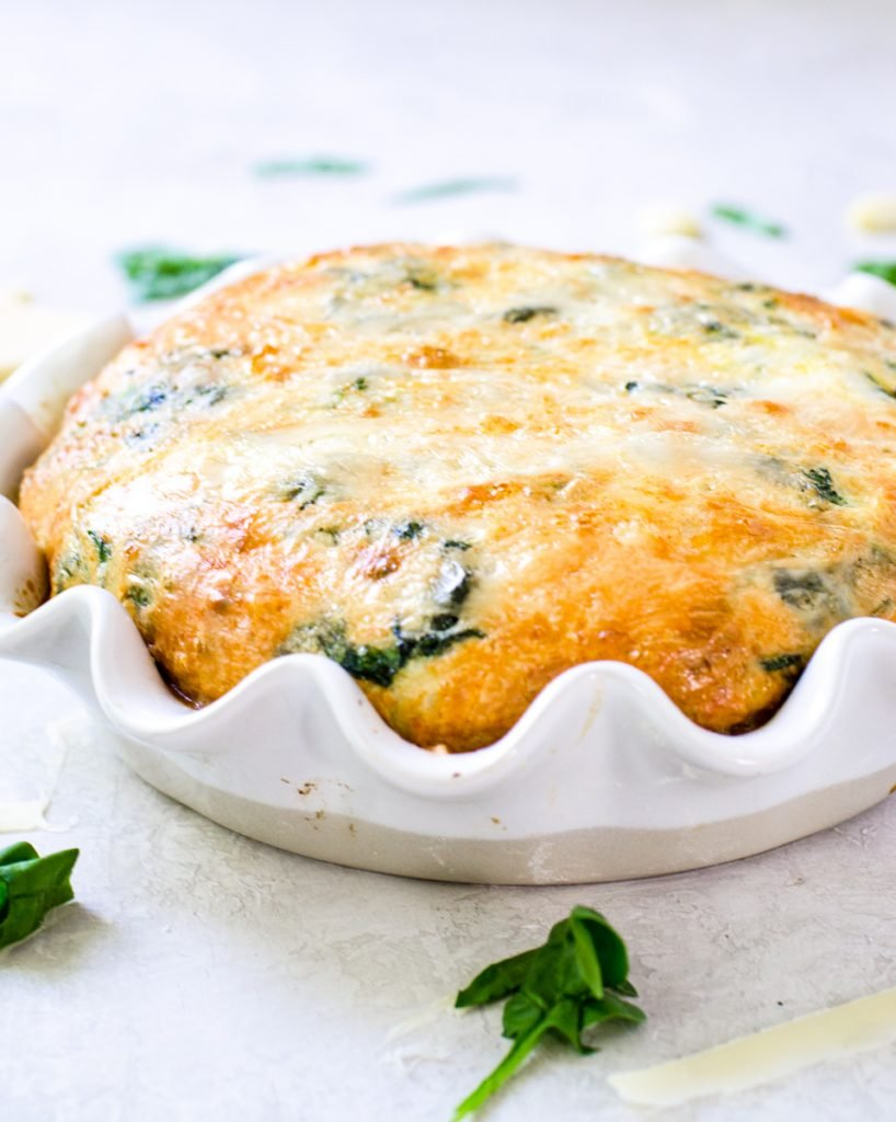 A puffed up frsh from the oven spinach egg bake.