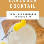 """Overhead view into a coupe glass of cocktail with a lemon and lavender garnish. A yellow block above it sayings """"Vanilla Lavender Cocktail""""."""