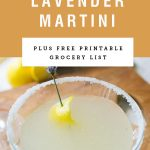 """A garnished martini with yellow header saying """"easy lavender martini"""""""