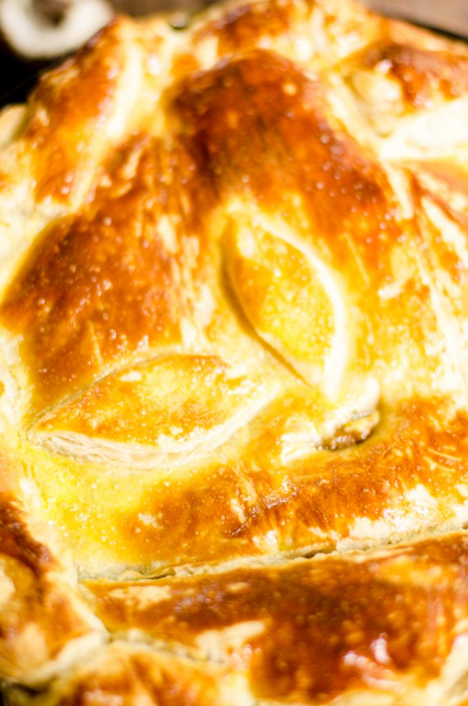 Cooked puff pastry.
