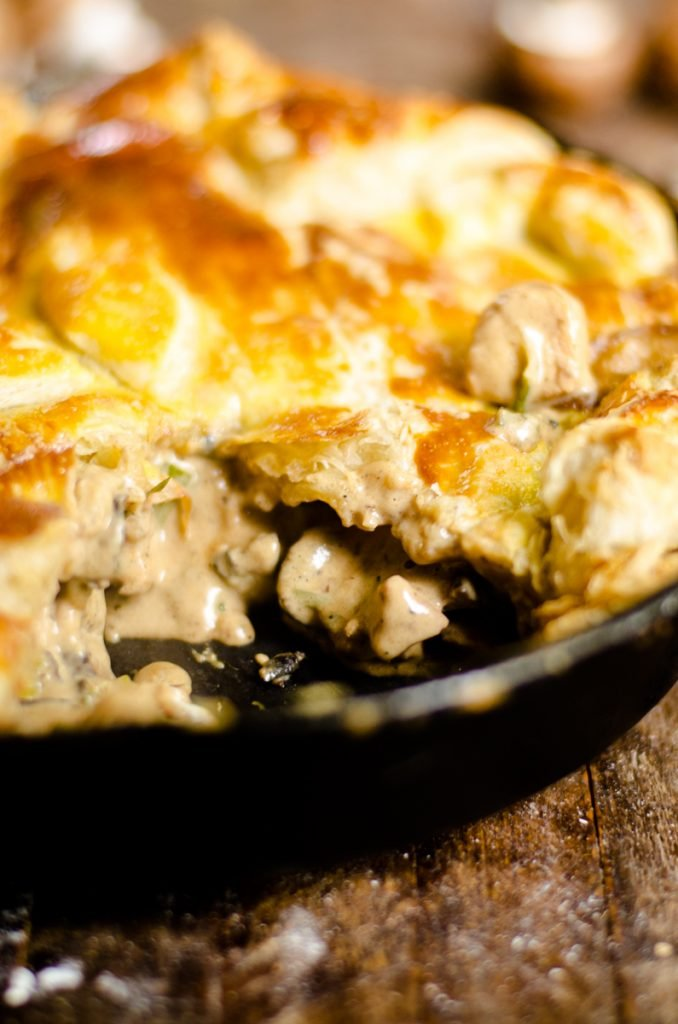 The inside filling of chicken and mushroom pie.