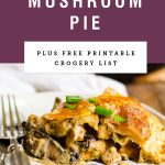"""A slice of chicken and mushroom pie with a purple block above it saying """"chicken and mushroom pie"""""""
