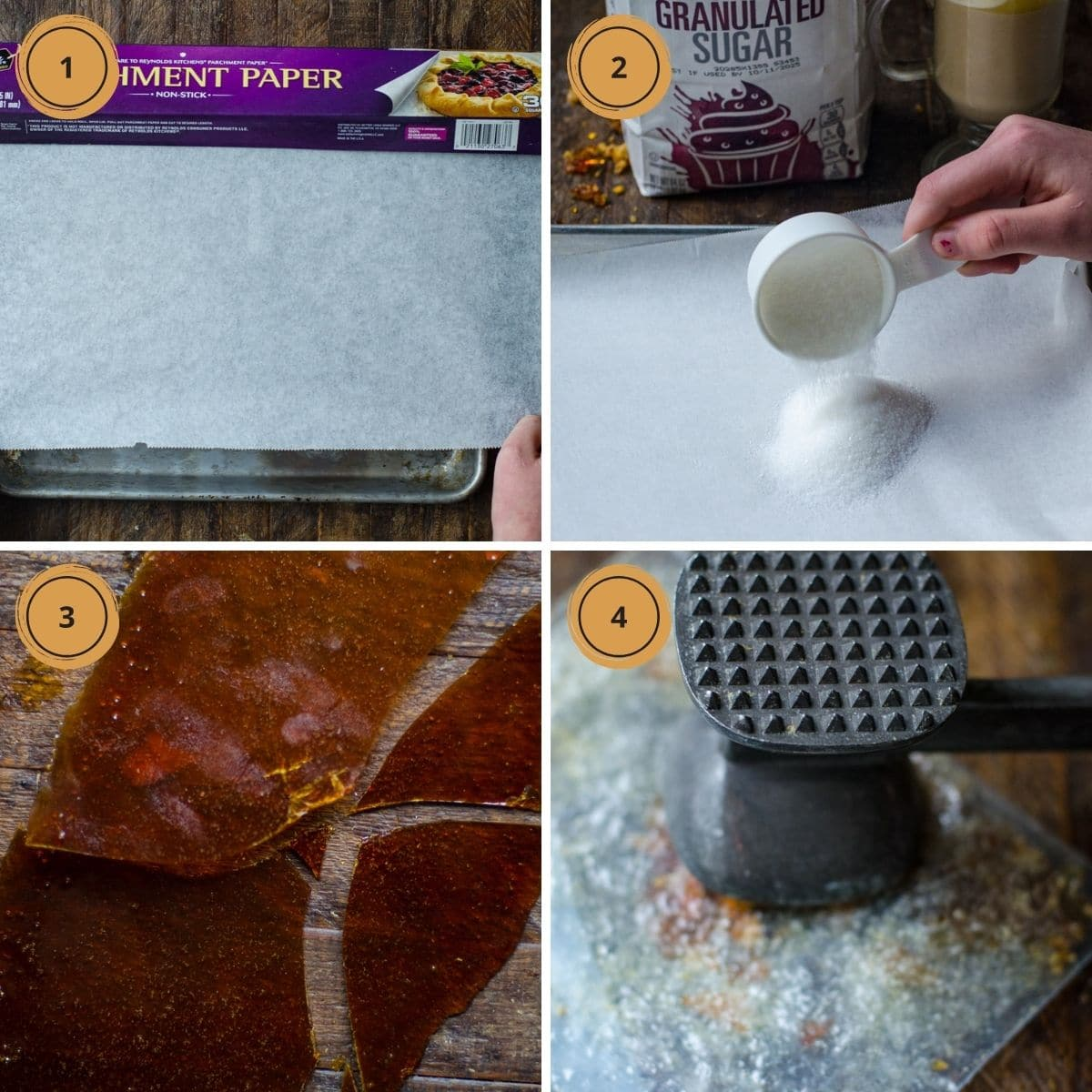 Four steps showing how to make brulee sugar.