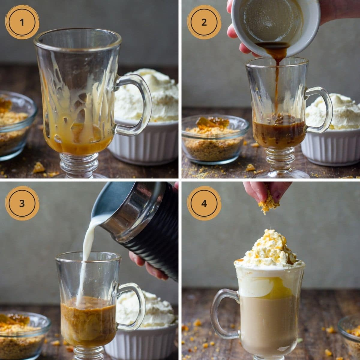 Four steps showing how to make homemade caramel brulee latte.
