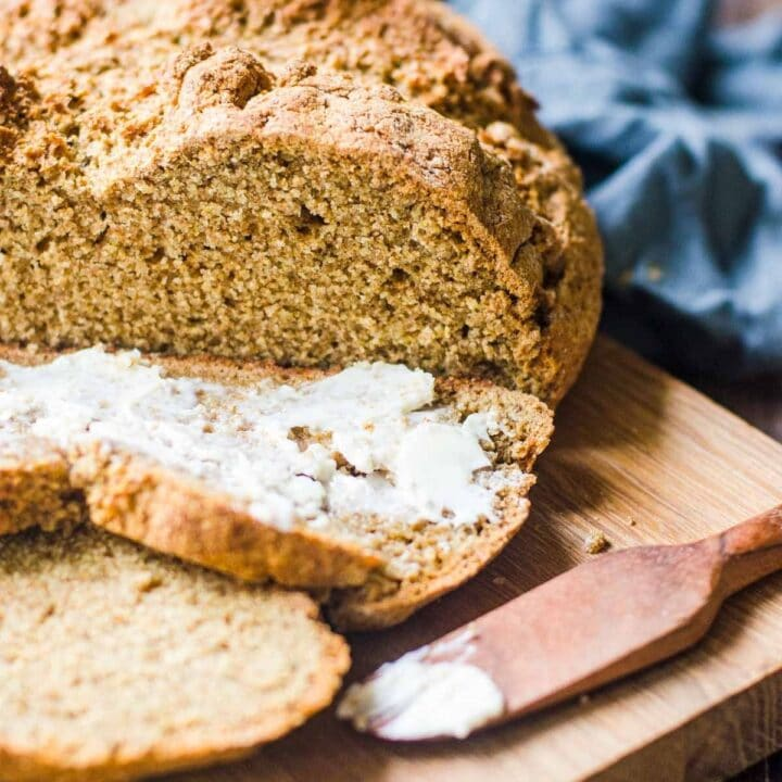 Slices of soda bread with butter.