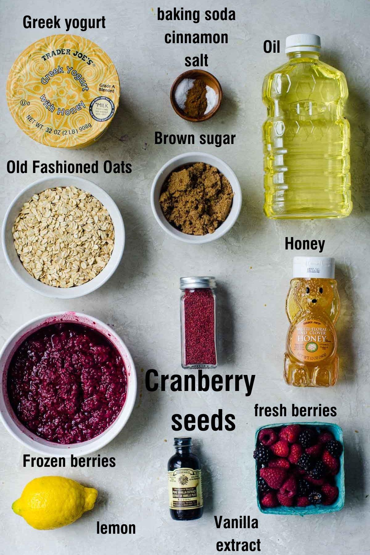 Labeled Ingredients for making frozen yogurt bars.