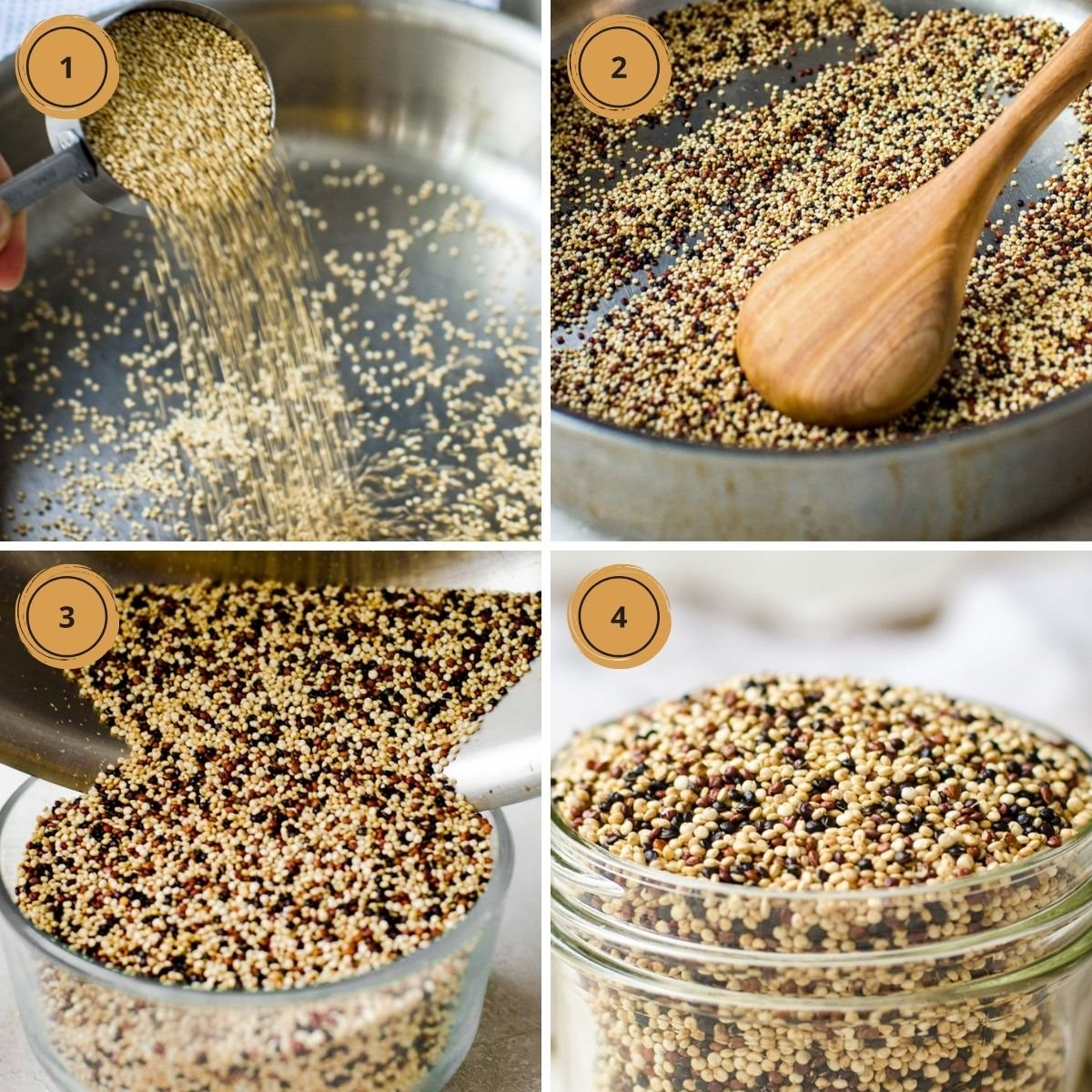 Four steps to making popped quinoa.