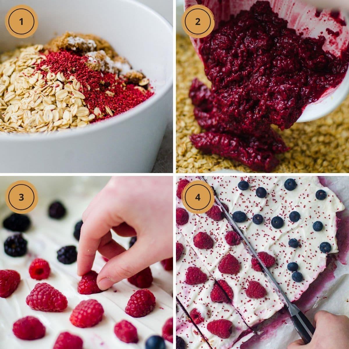Four pictures showing steps to make greek yogurt bars.