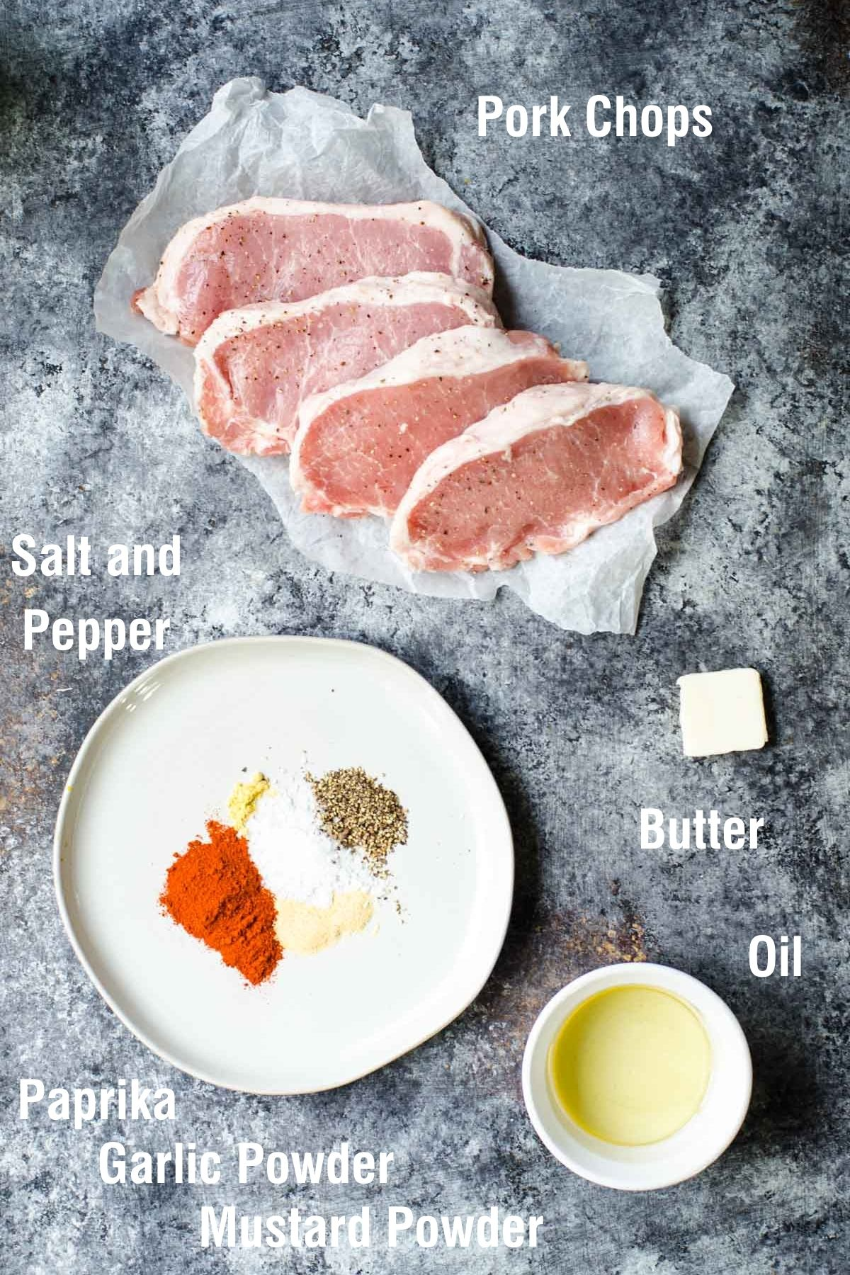 Labeled ingredients for making cast iron pork chops.