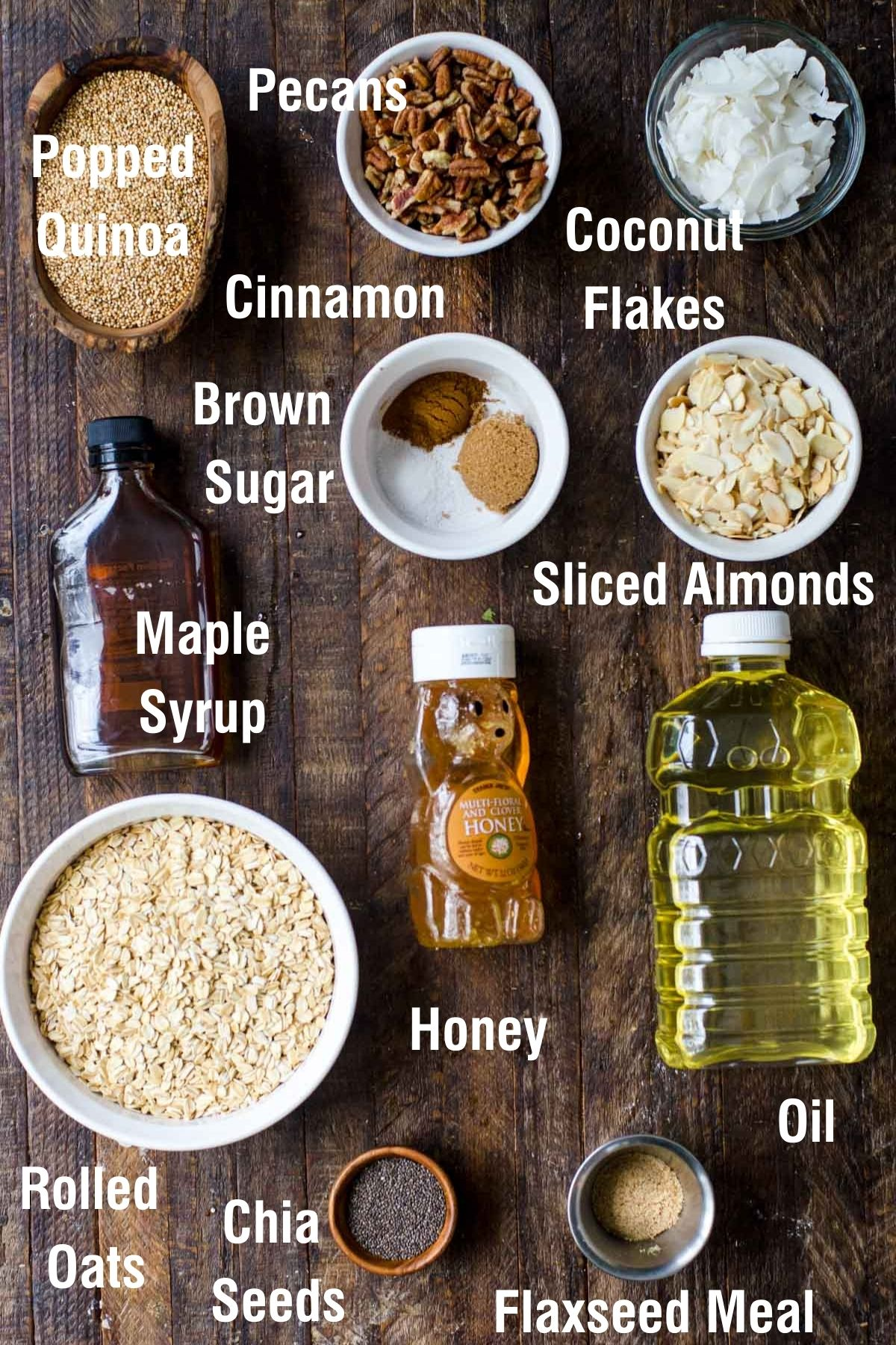 Ingredients for making high protein granola.