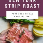 """Slices of medium rare beef with a purple box above it saying """"tender new york strip roast""""."""