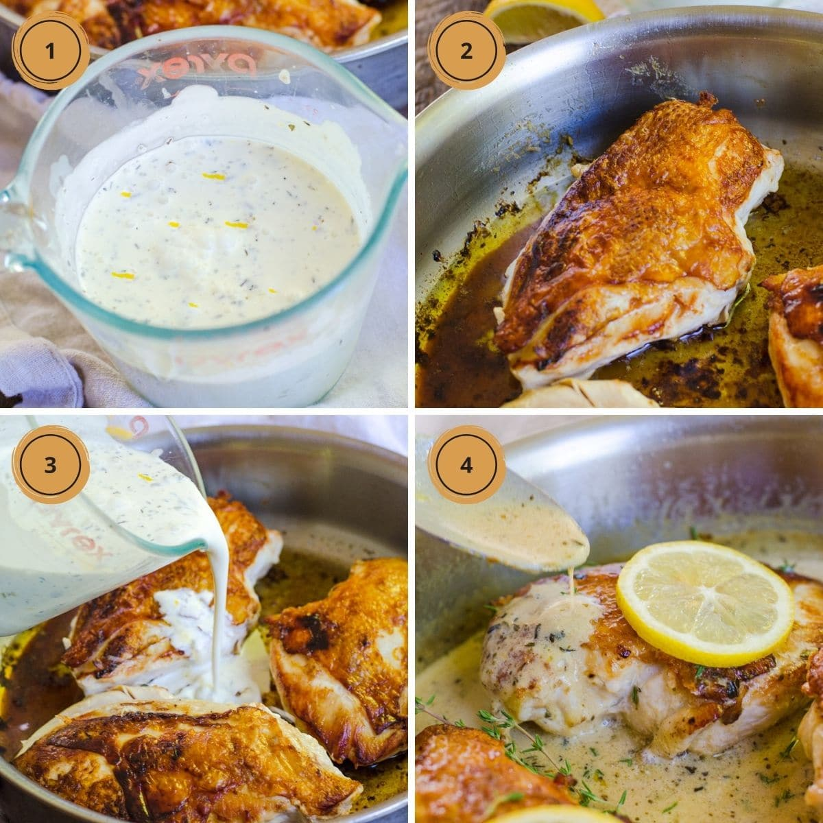 Four steps to make herbs de provence chicken.