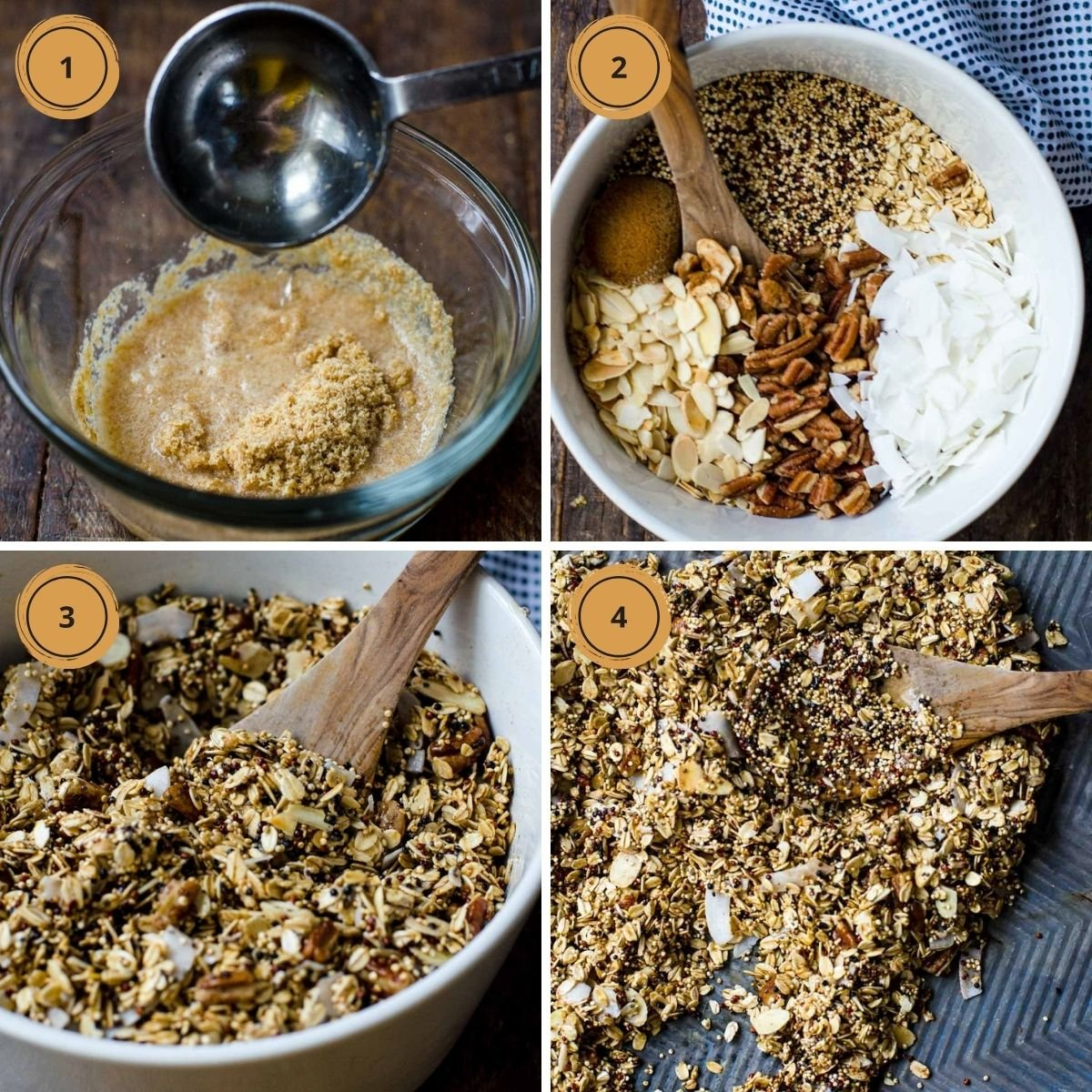 Four steps showing how to make high protein granola.