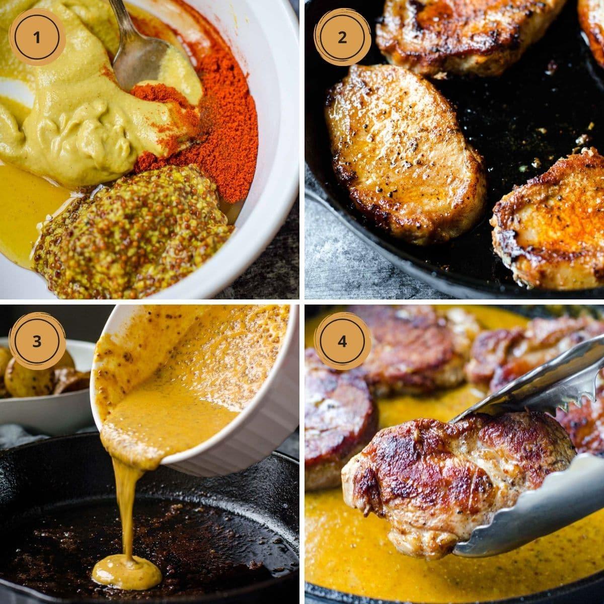 Four steps to make honey mustard pork chops.