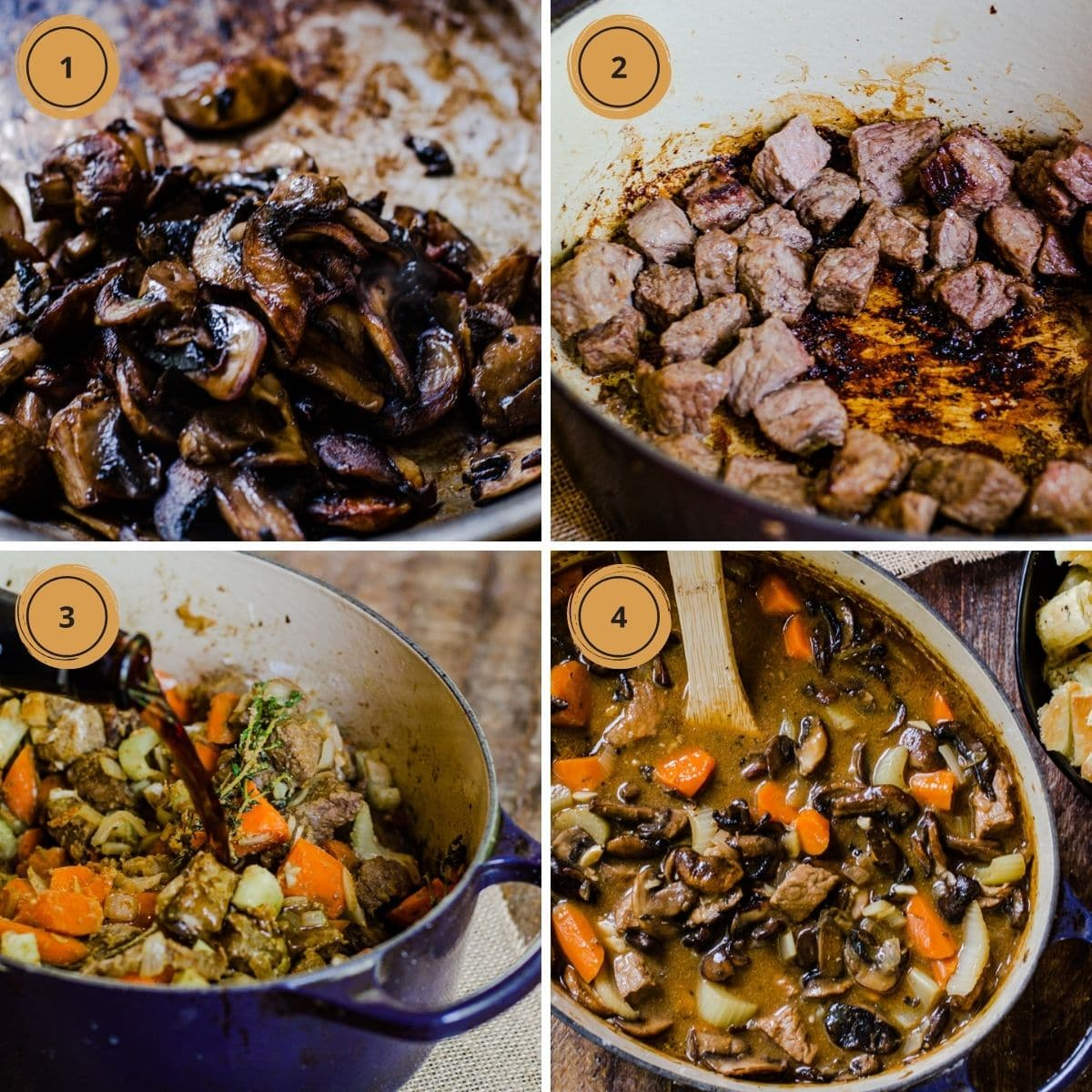 Four steps to making steak and ale soup.