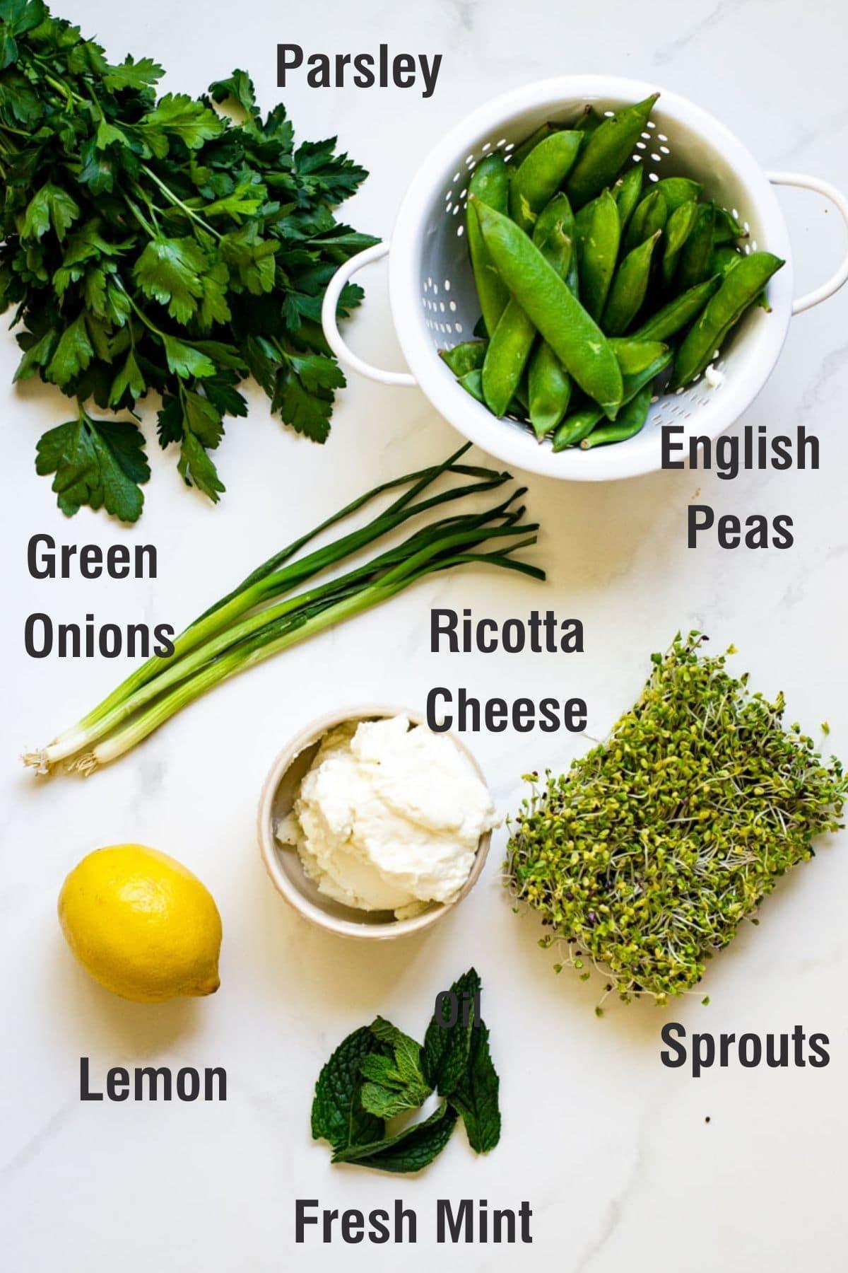 Ingredients for making english pea salad.