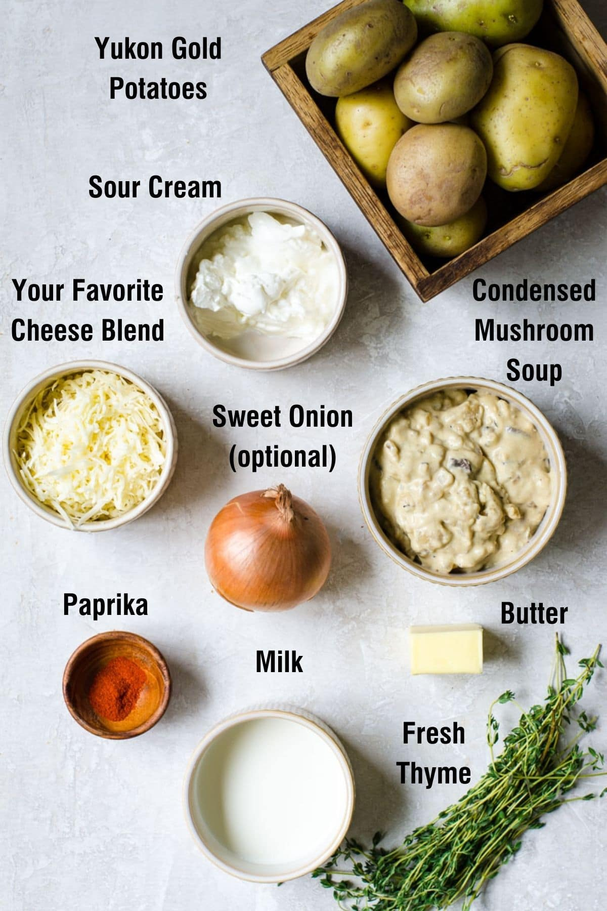 Labeled ingredients for making Scalloped Potatoes with Mushroom Soup