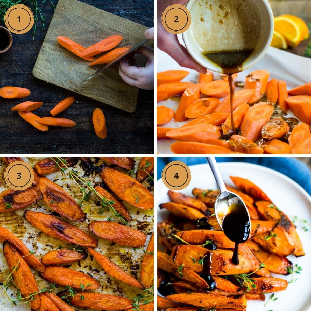 Four numbered square showing the steps for making Honey Balsamic Glazed Carrots.