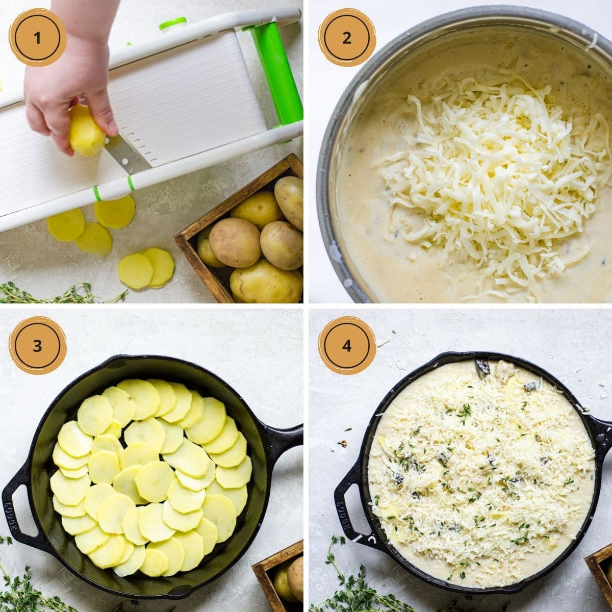 Four steps for making Scalloped Potatoes with Mushroom Soup